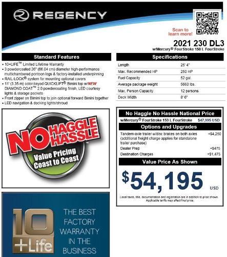 2021 Regency boat for sale, model of the boat is 230 DL3 & Image # 12 of 13