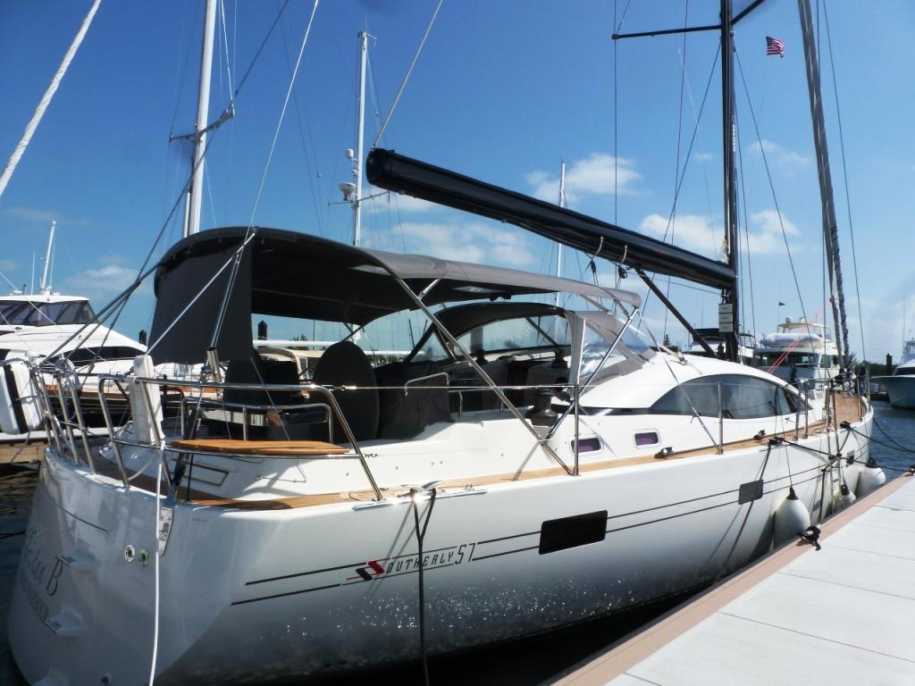 Large bimini with aft sunshade and fold down dodger