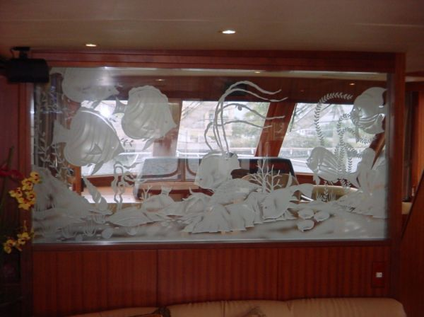 Custom Etched Glass Divider