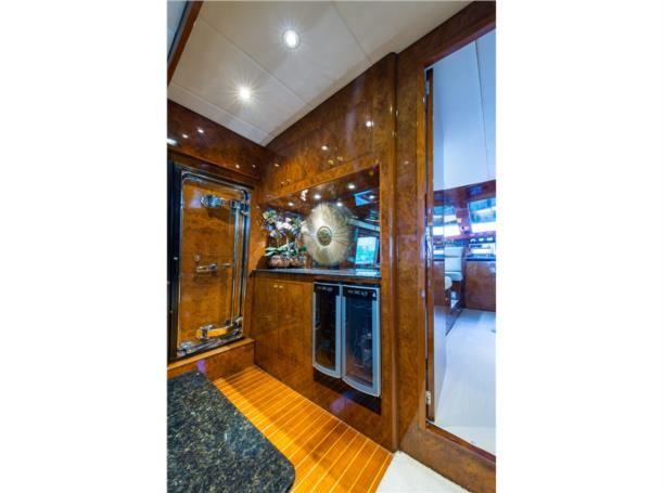 Salon forward portside, stairs to mid staterooms