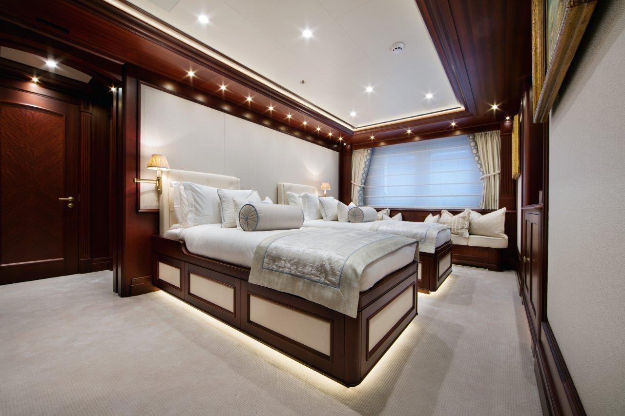 279 Lurssen Lower Deck Guest Stateroom set up as Twin Beds
