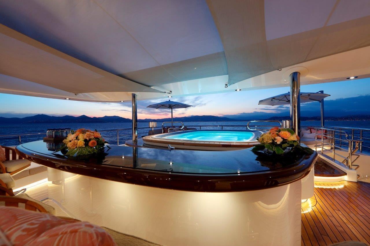 279 Lurssen Bridge Deck Pool and Bar at Night