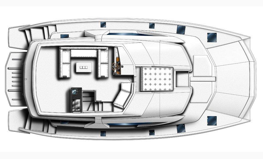 Manufacturer Provided Image: Leopard 51 PC Flybridge Layout Plan