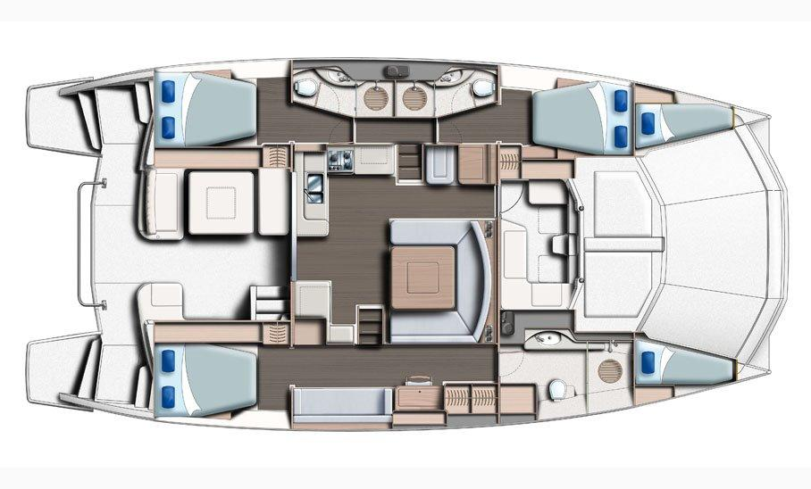 Manufacturer Provided Image: Leopard 51 PC Main Deck 3 Cabin Layout Plan