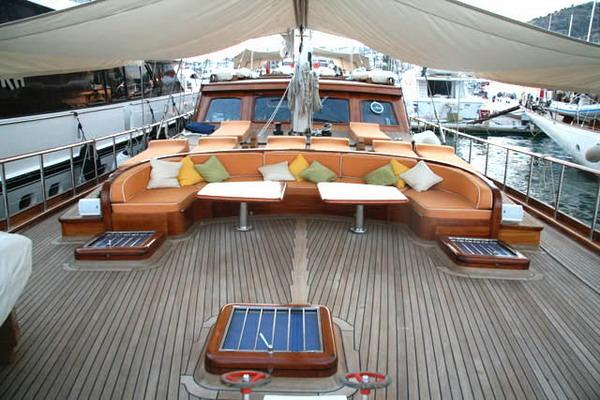 Steel Gulet With Seating Area At The Front Deck