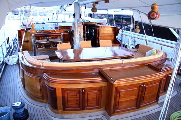 Aft Deck With Dining Table And Seating Area