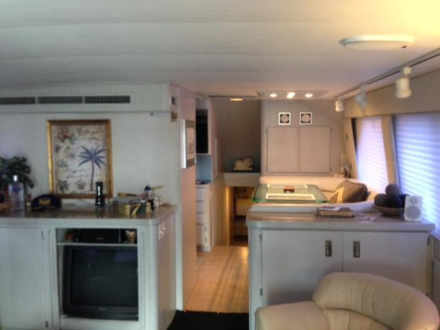 Salon w/dinette to starboard across from galley