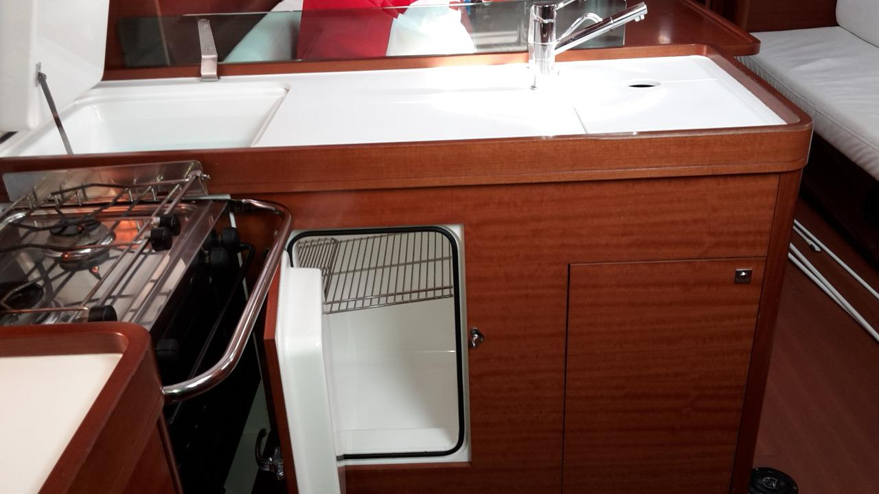 Dufour 40e Galley with top and front opening fridge