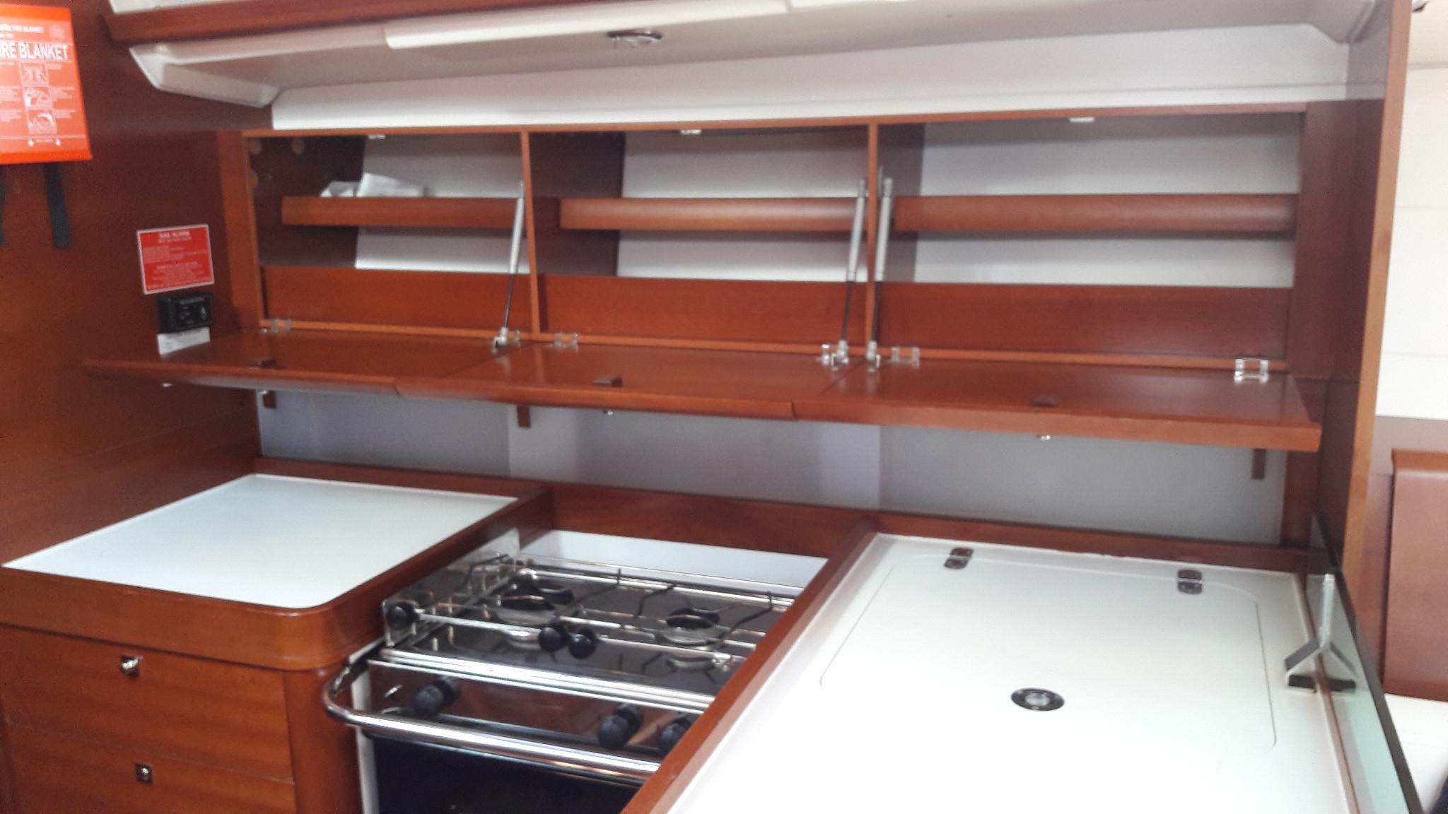 Dufour 40e galley eye level storage
