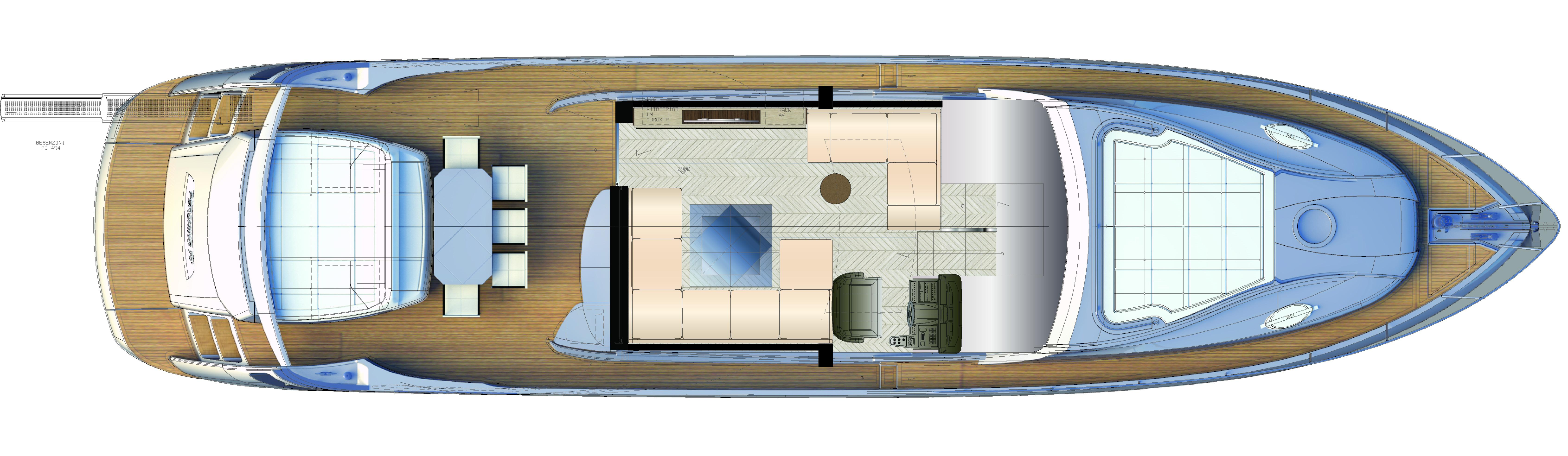 Manufacturer Provided Image: Pershing 70 Upper Deck Layout Plan