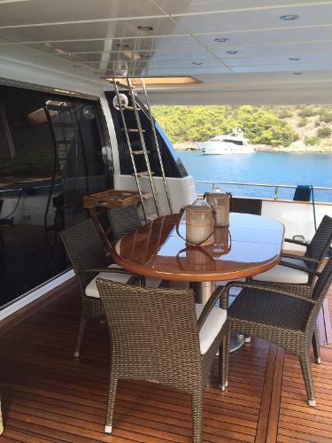 Fully Teak Laid Aft Deck With Dining Table And Chairs