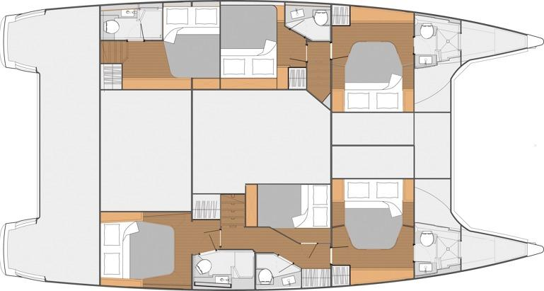 Layout 6 cabins /head + 2 crew