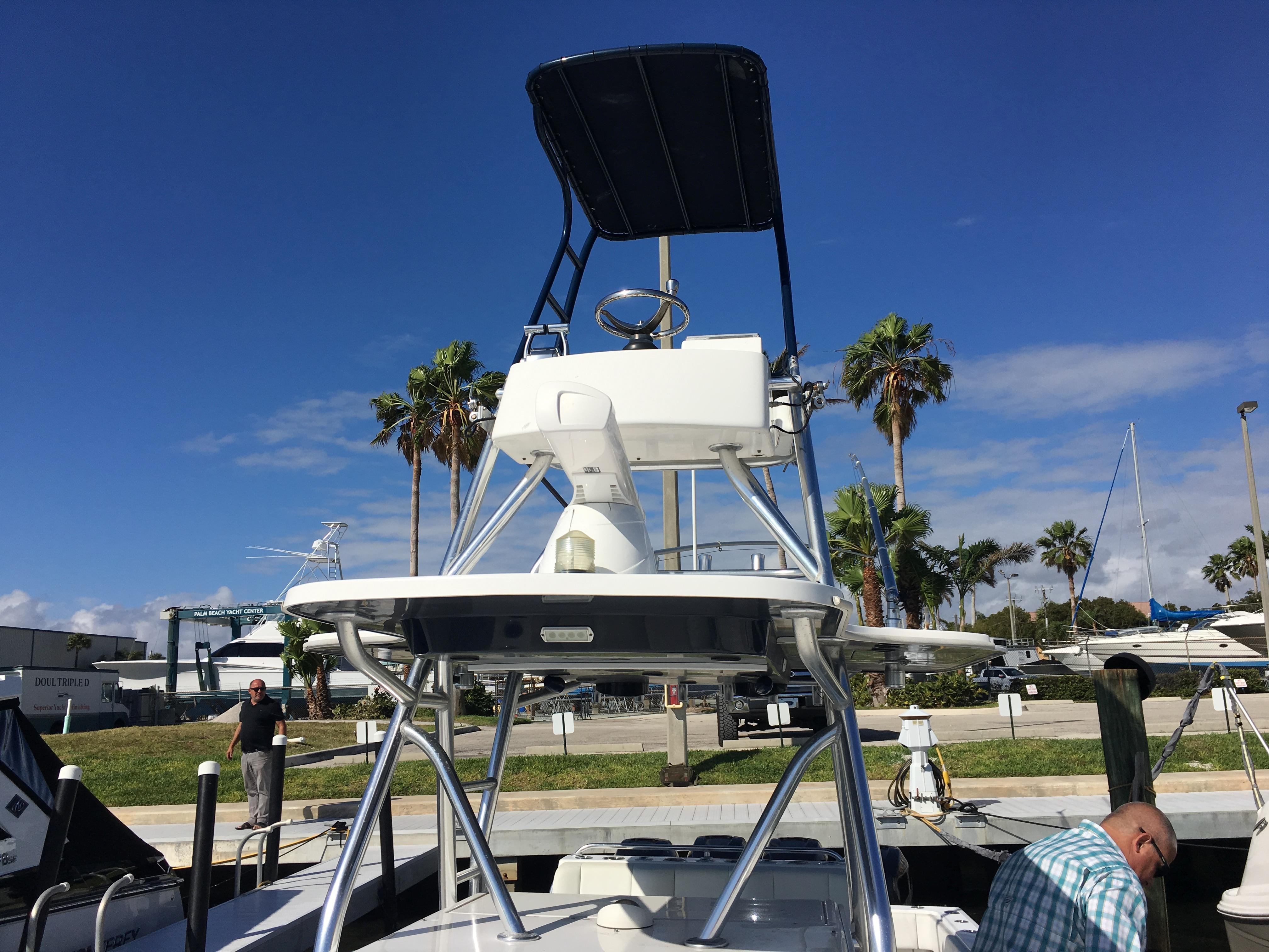 Removable Bimini on tower reduces hight above waterline to 11' 6