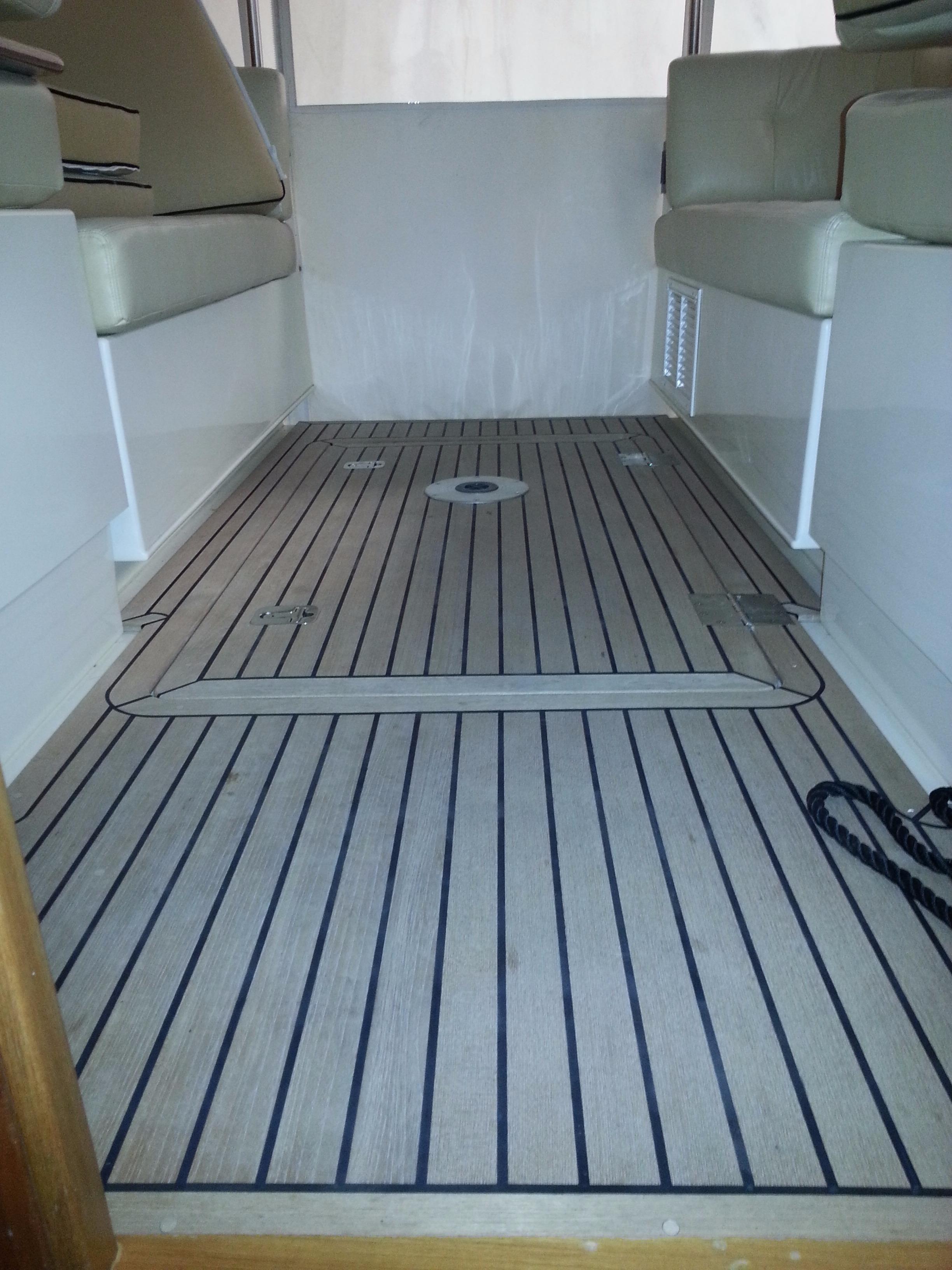 Teak deck near helm