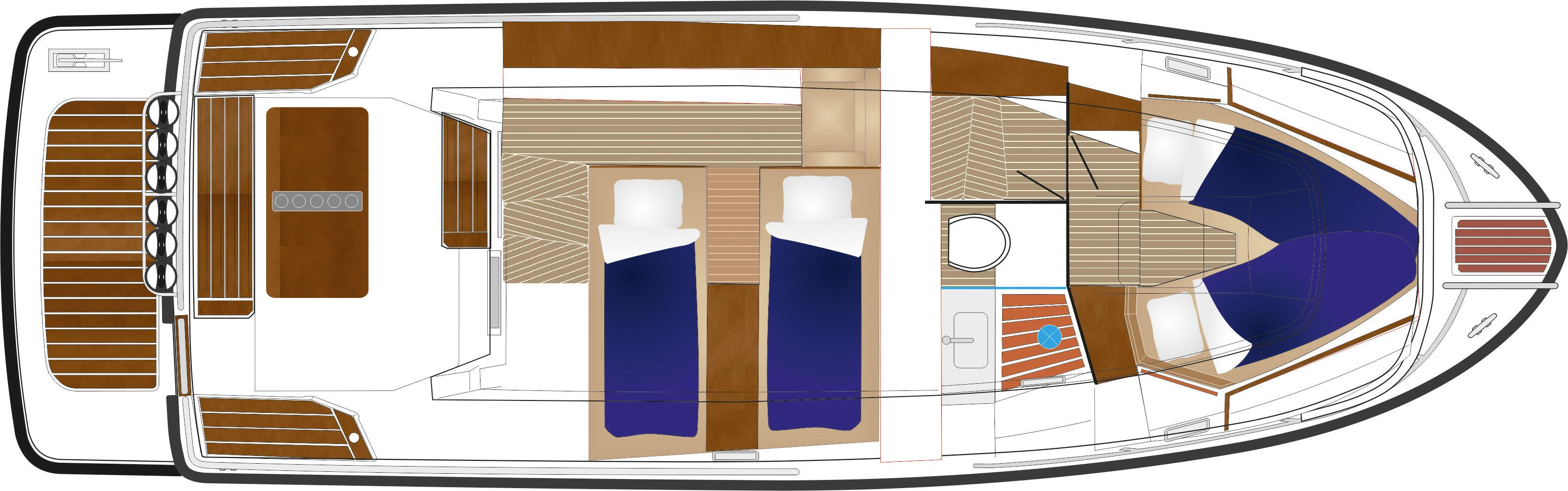 Sargo 33 Explorer - lower deck plan