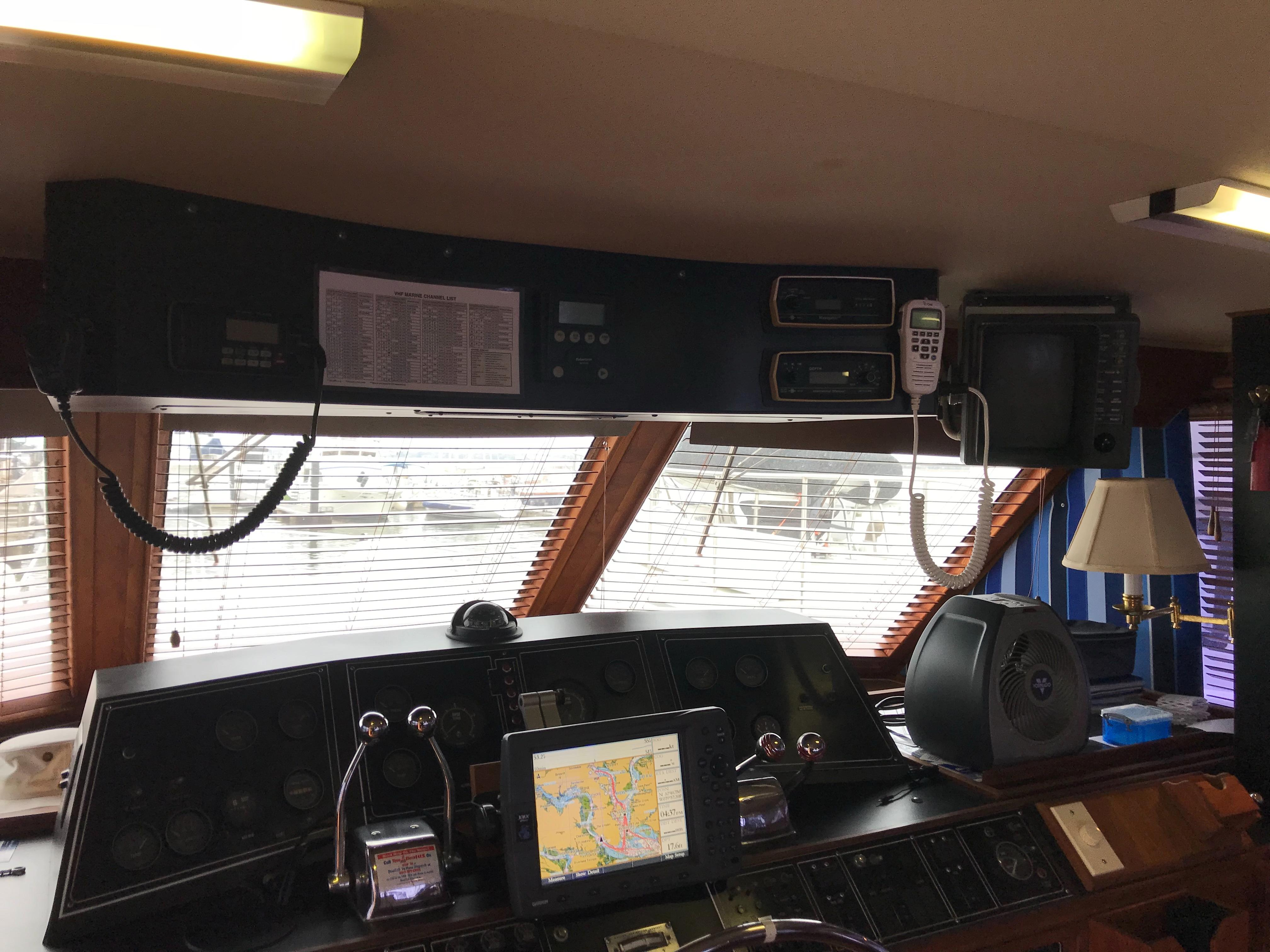 Chris-craft 46 Constellation - Electronics Panel above Lower Helm