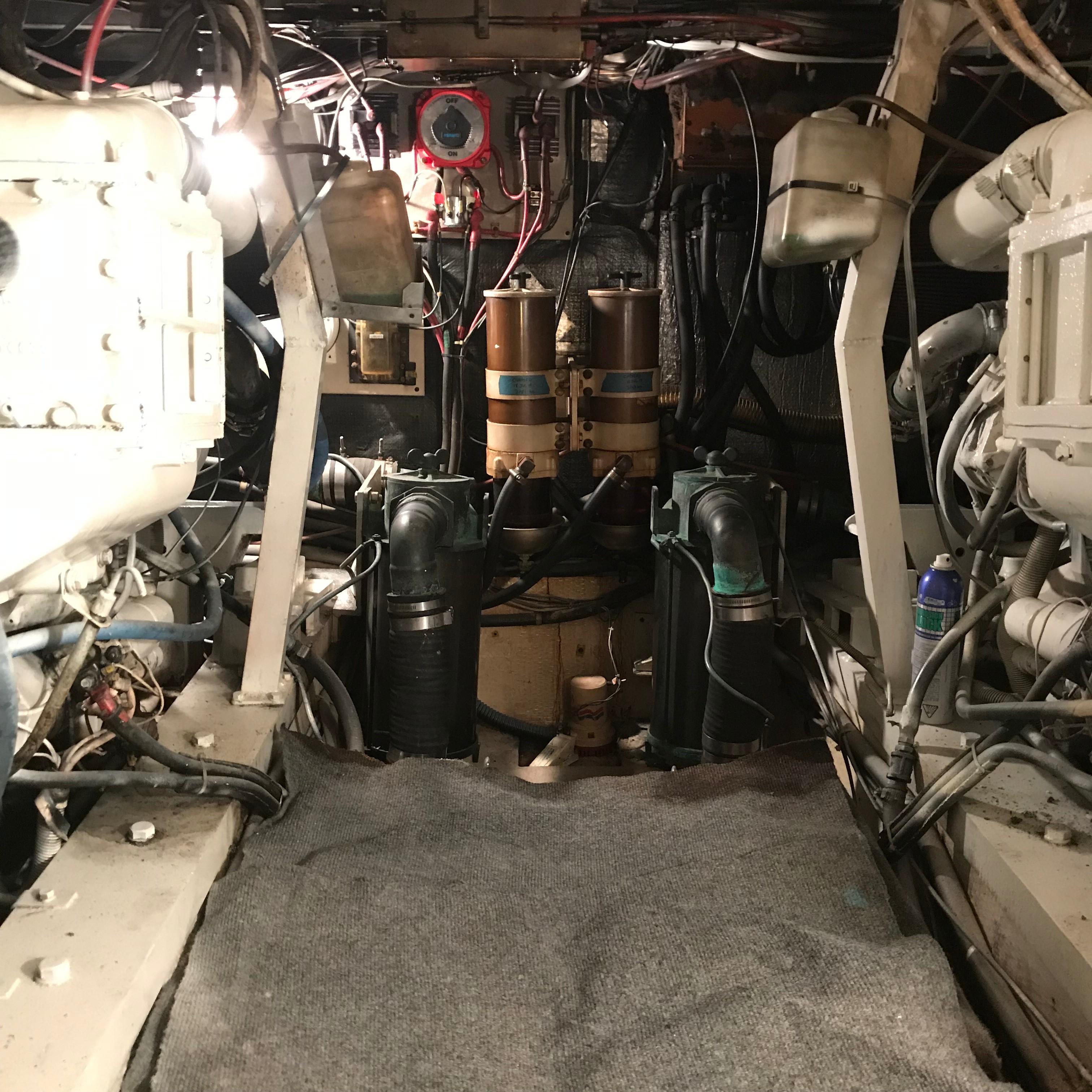 Chris-craft 46 Constellation - Engine Room looking aft