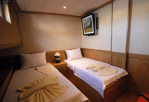 Twin Bedded Guest Cabin Of A Wooden Gulet