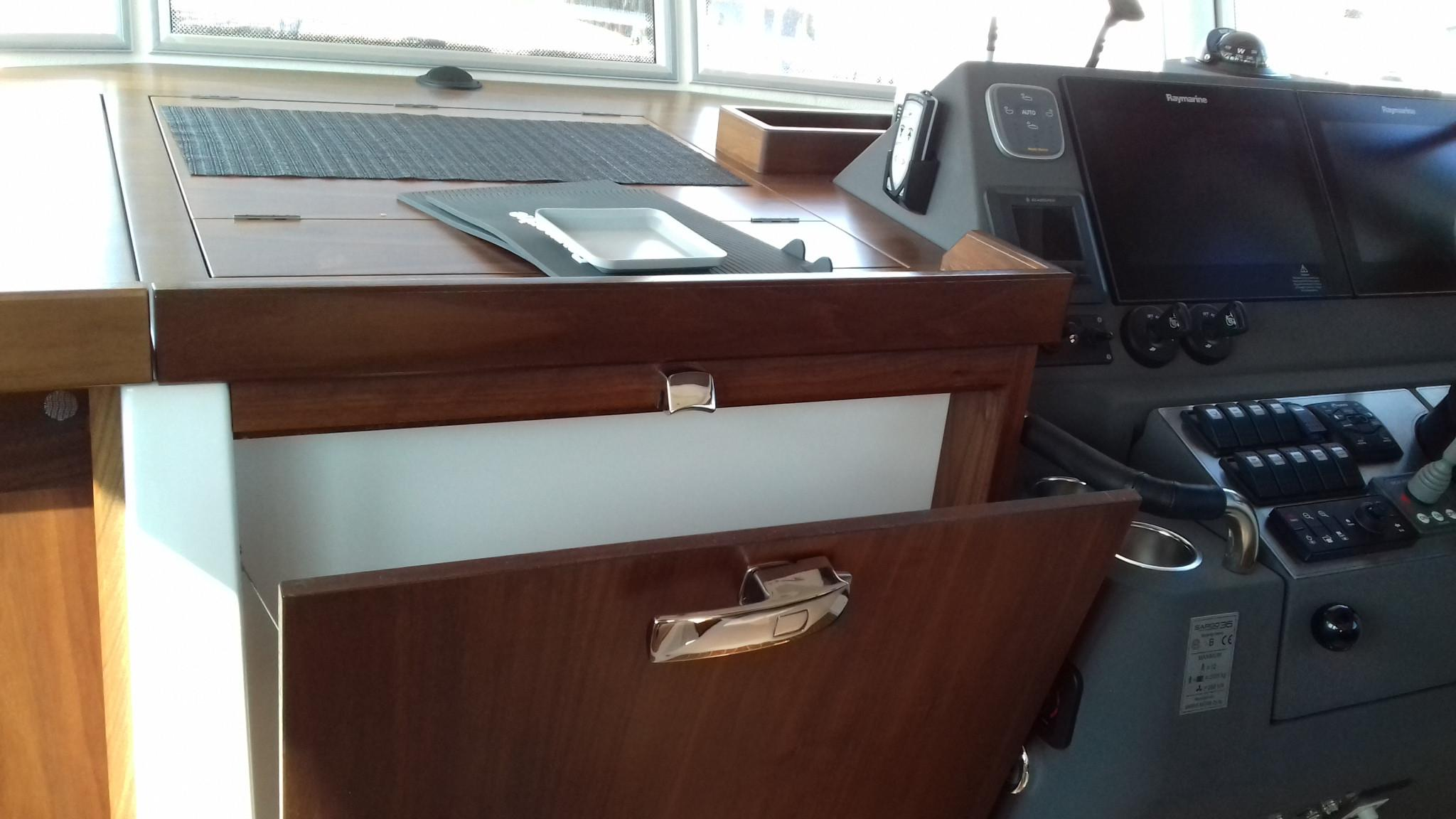 Sargo 36 Fly Steering and chart draw open
