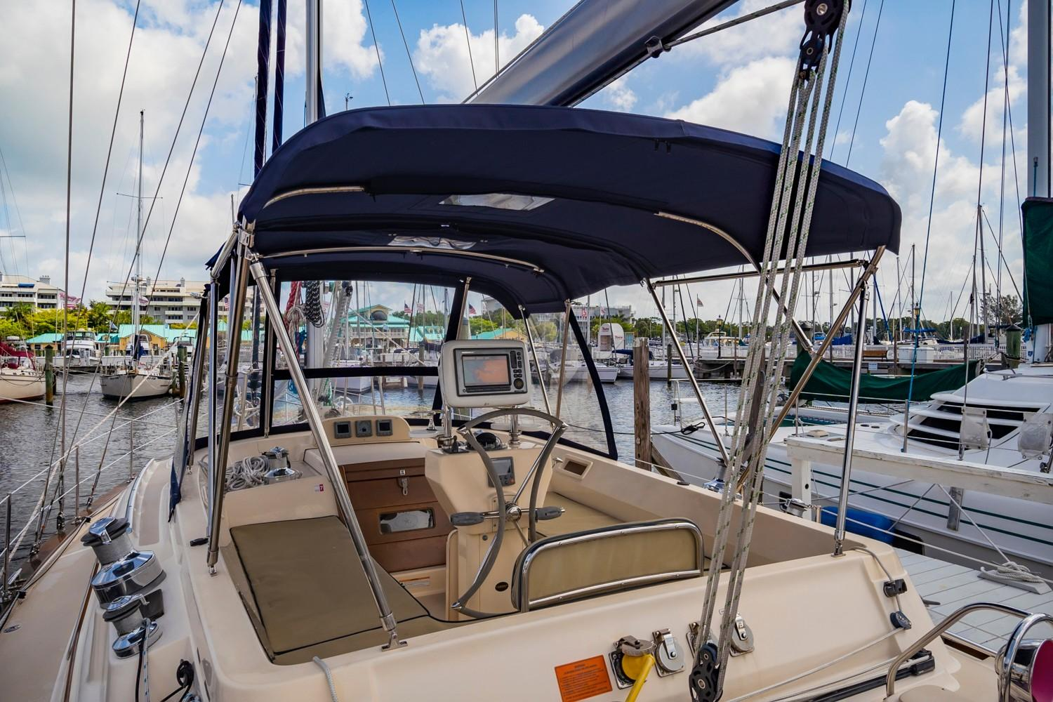 Dodger and bimini with connecting panel, SS frame and SS handrails (2019)