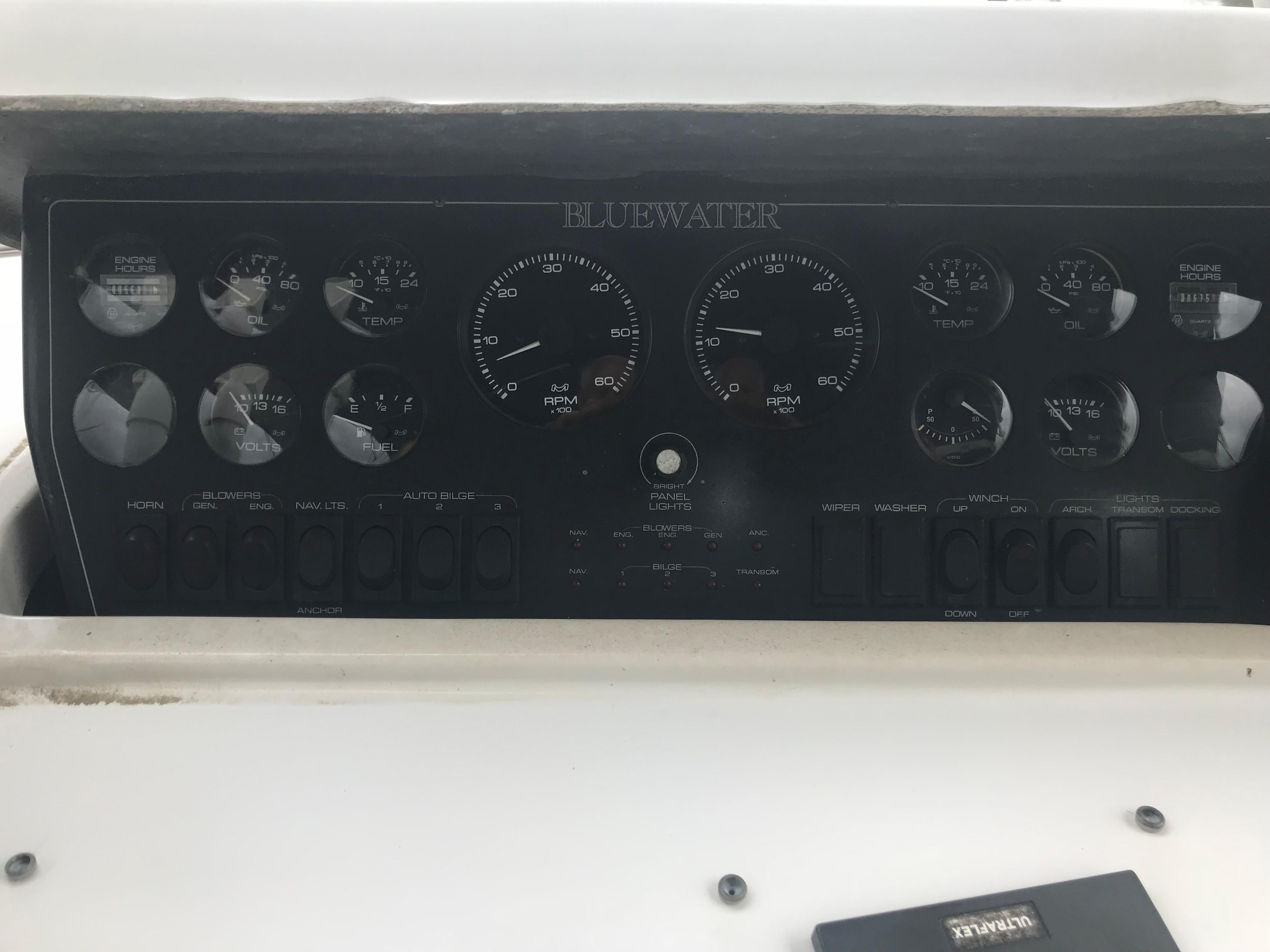 Bluewater Yachts 48 Houseboat - Engine Gauges on Bridge Helm