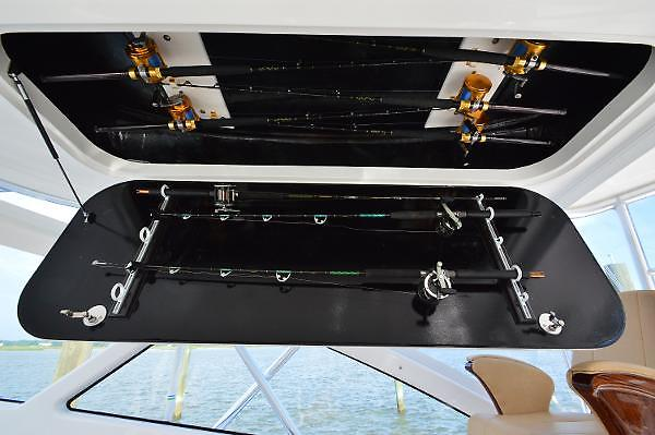 2015 Viking 42 Open, stbd side overhead rod storage
