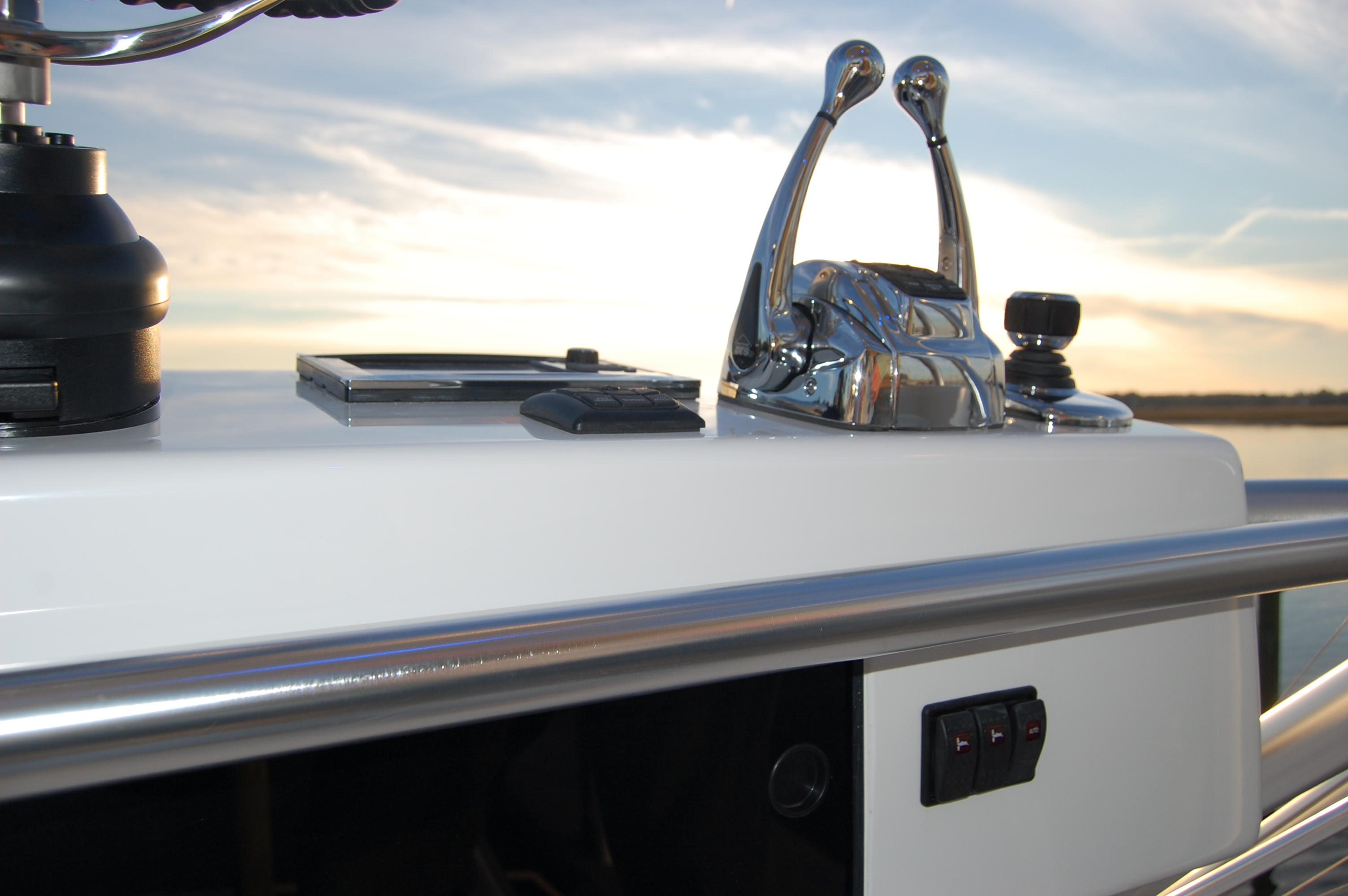 2015 Viking 42 Open, trim tab switches on tower