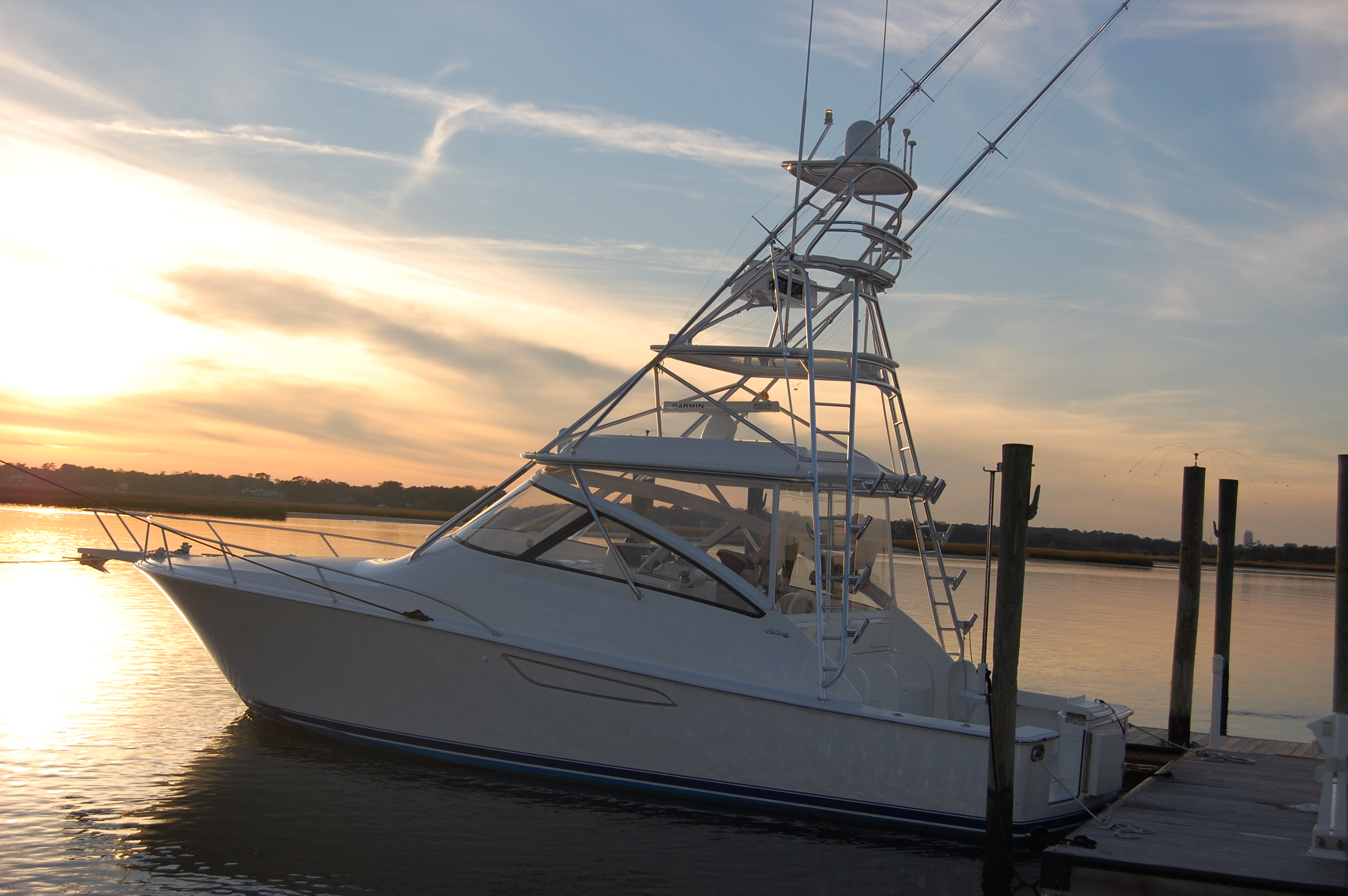 2015 Viking 42 Open, port side at the dock
