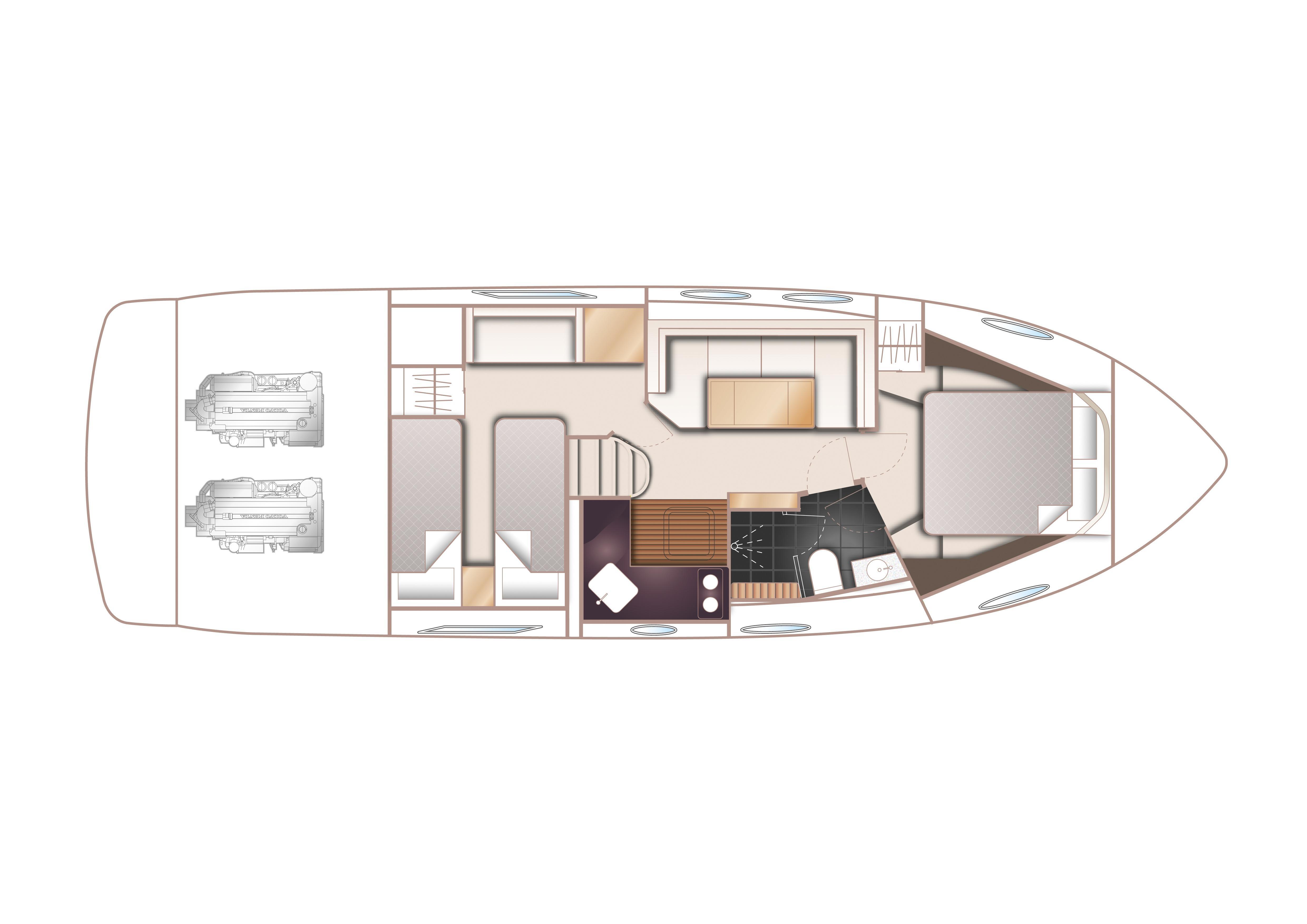Manufacturer Provided Image: Princess V39 Lower Deck Layout Plan