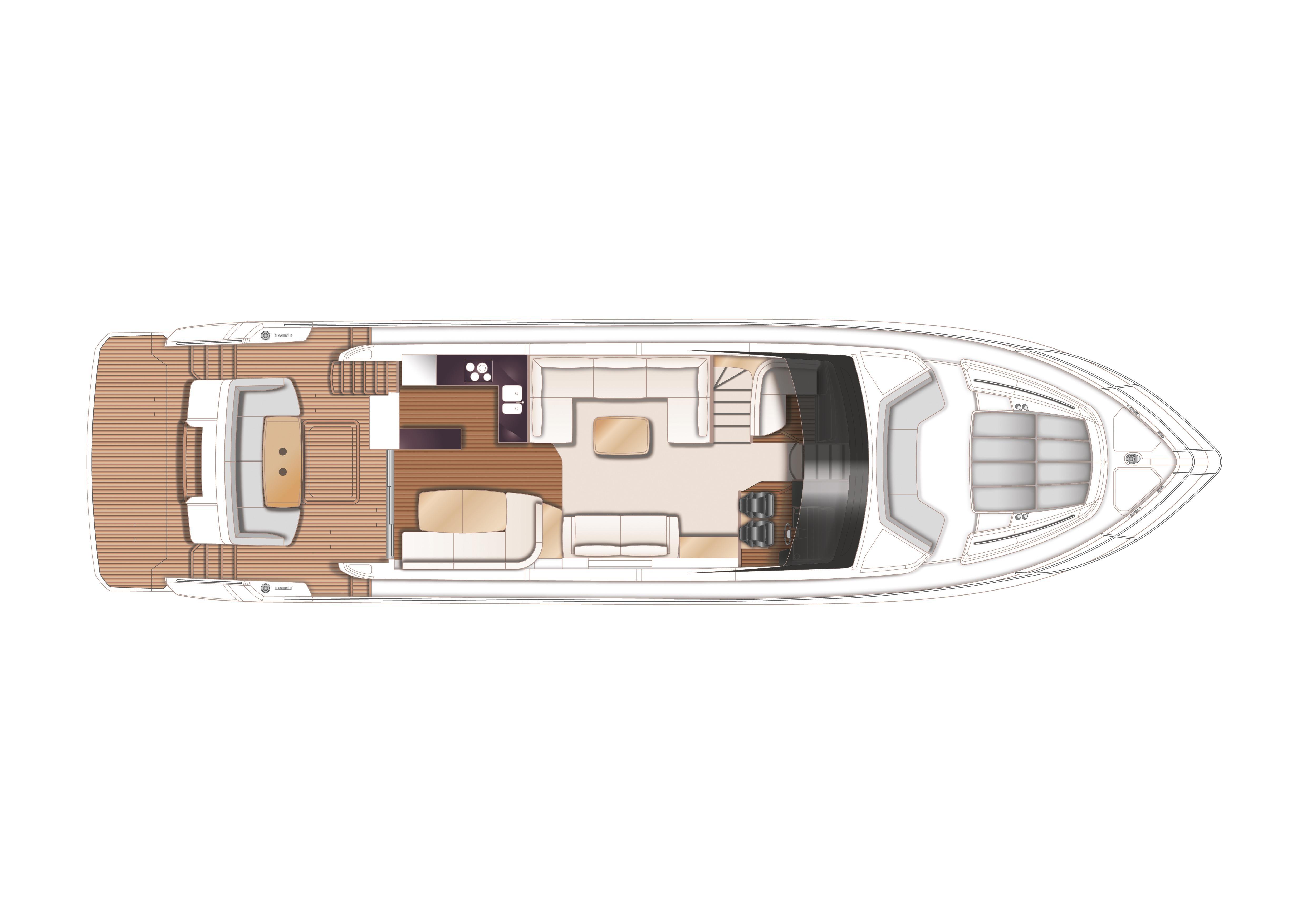 Manufacturer Provided Image: Princess 68 Upper Deck Layout Plan