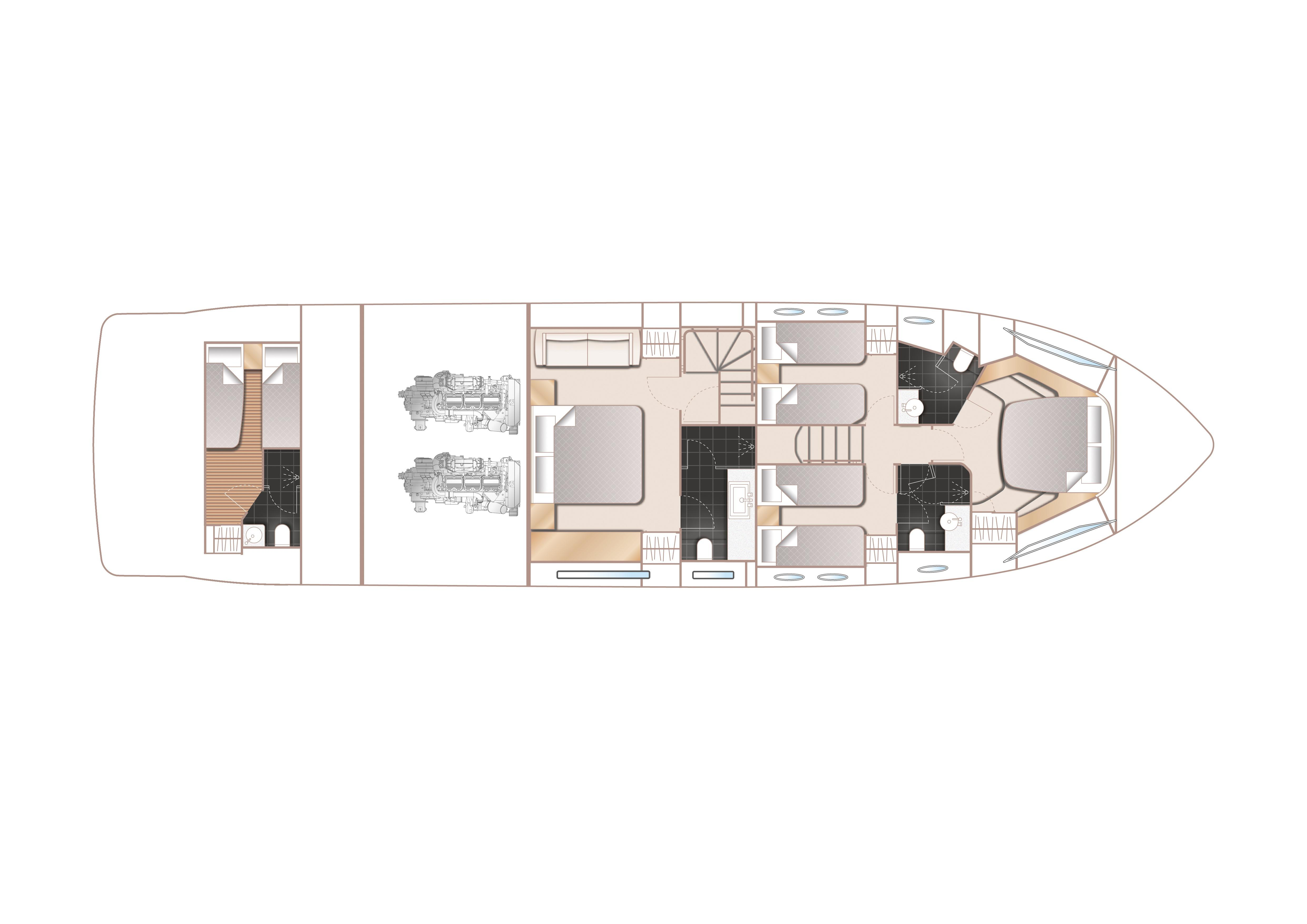 Manufacturer Provided Image: Princess 68 Lower Deck Layout Plan