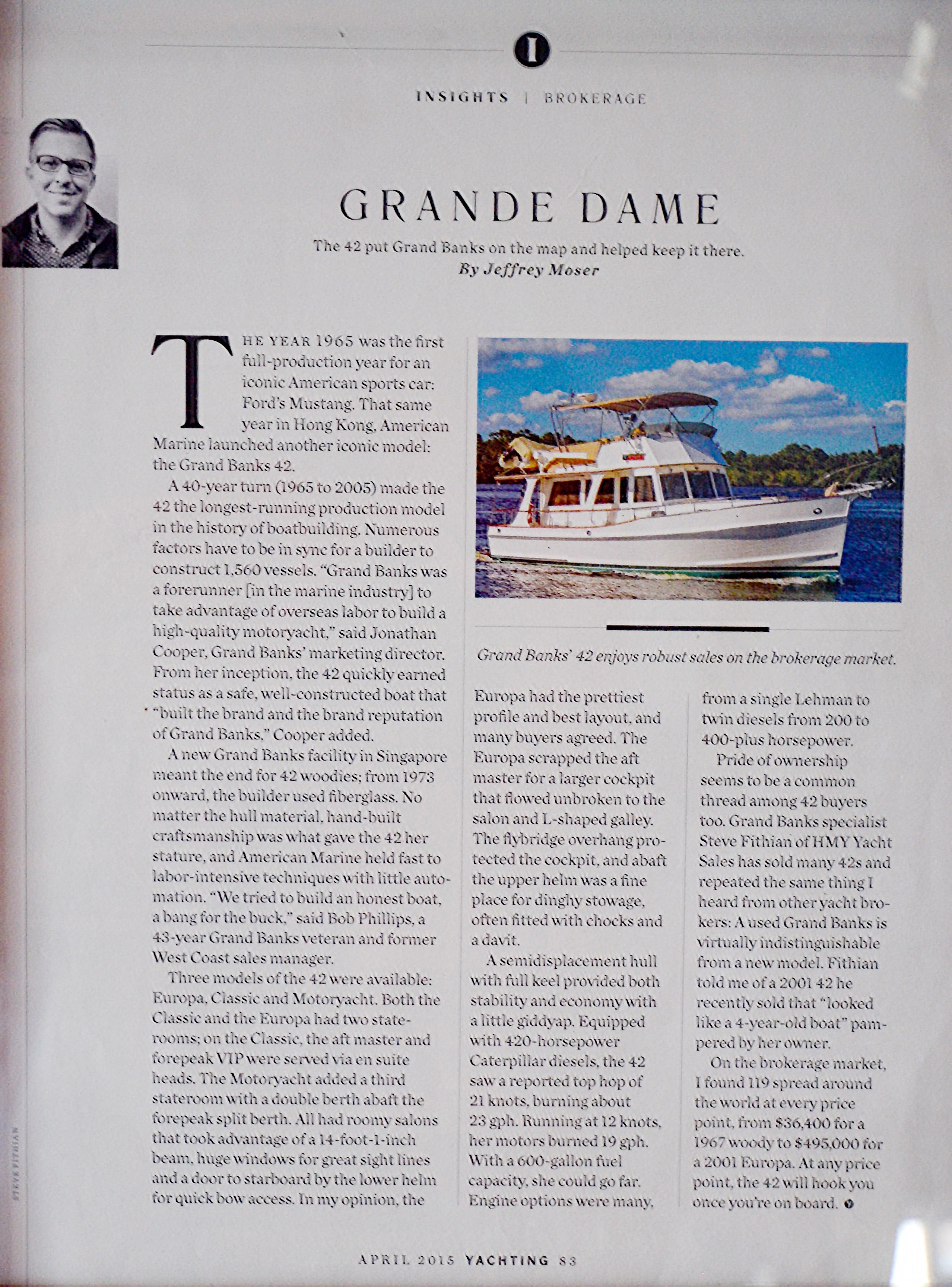 Yachting Article on this Boat