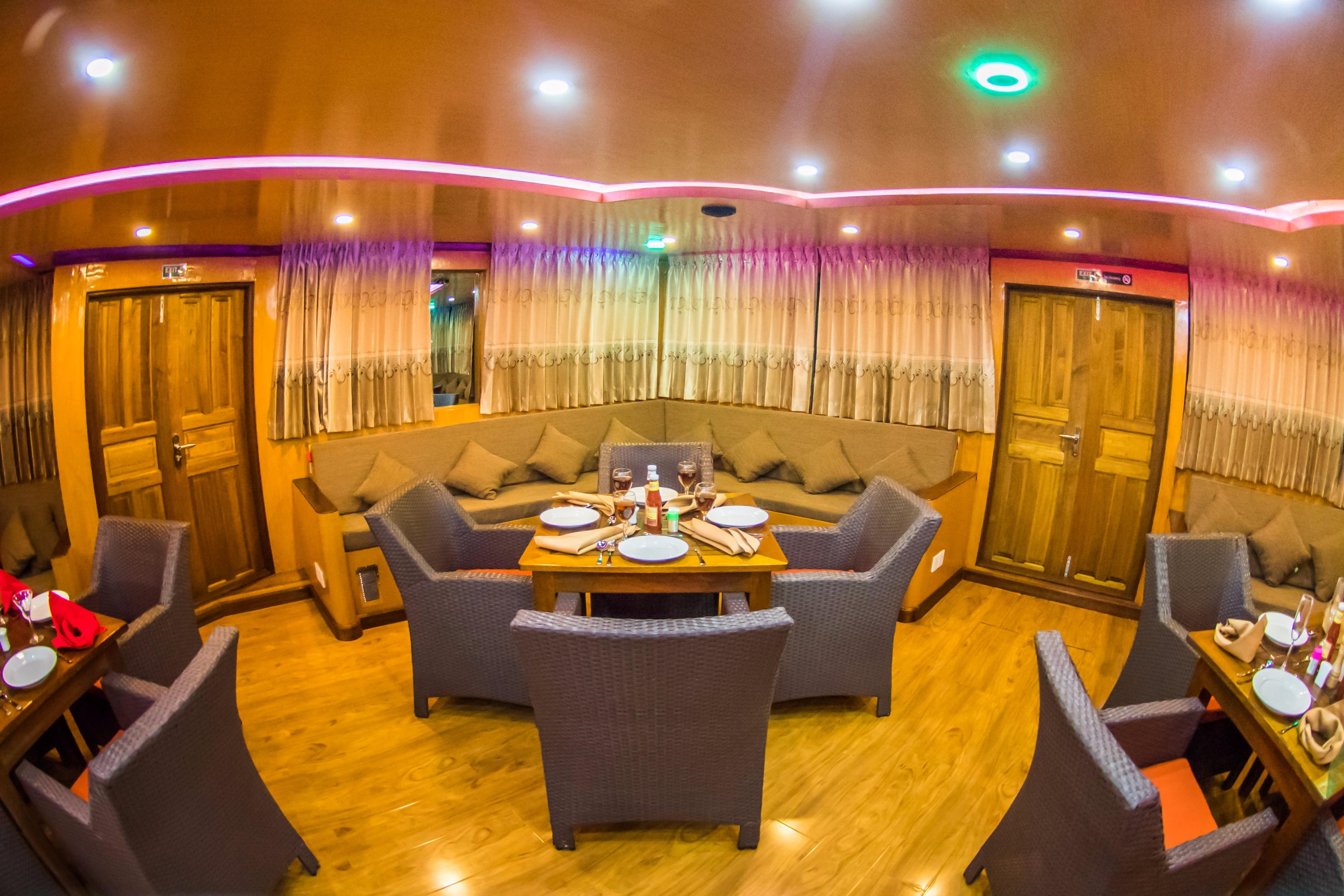 Custom 110 Motor Yacht Dining and Lounge Area