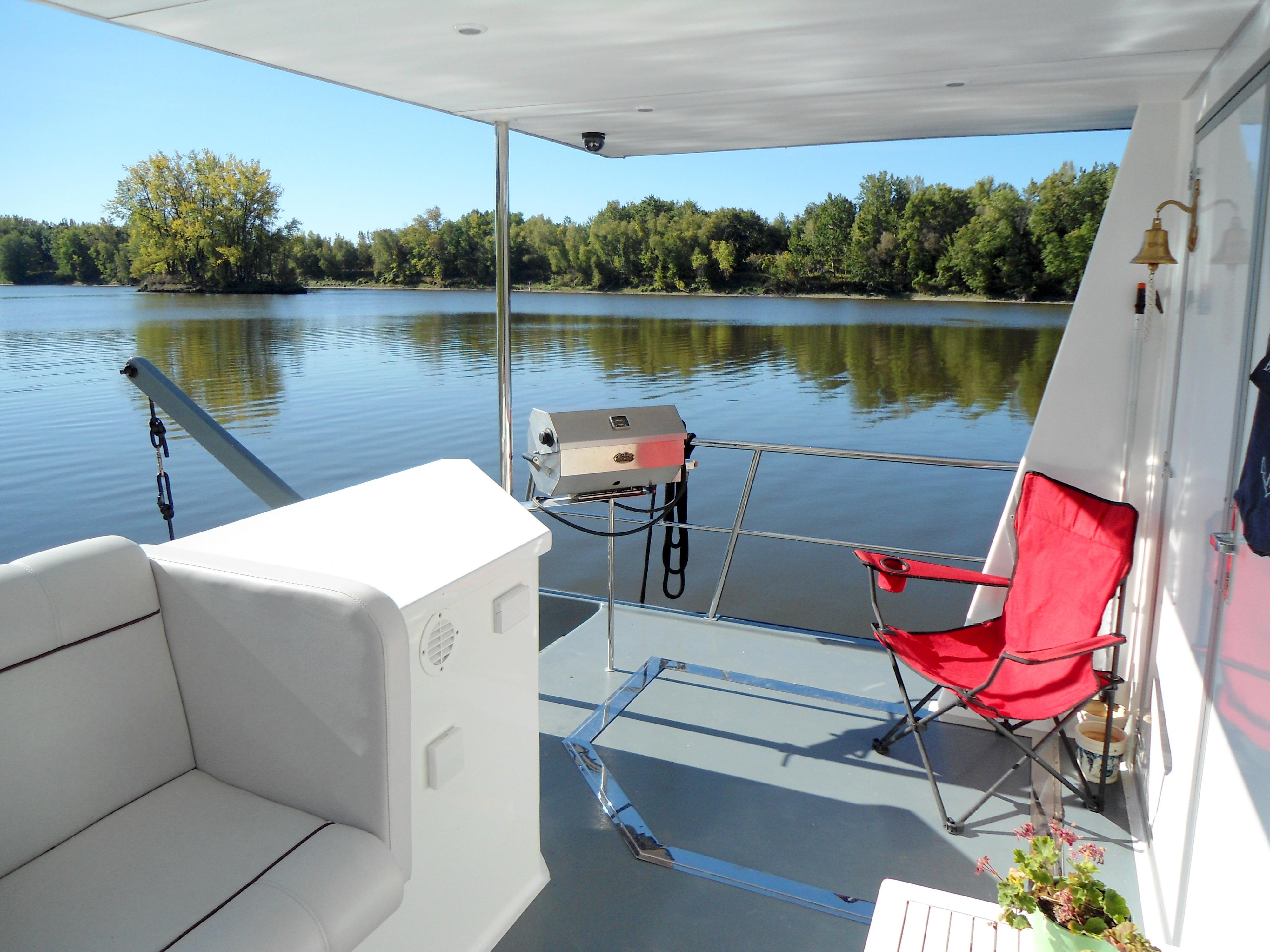 Flybridge Power Catamaran Protected Aft Deck
