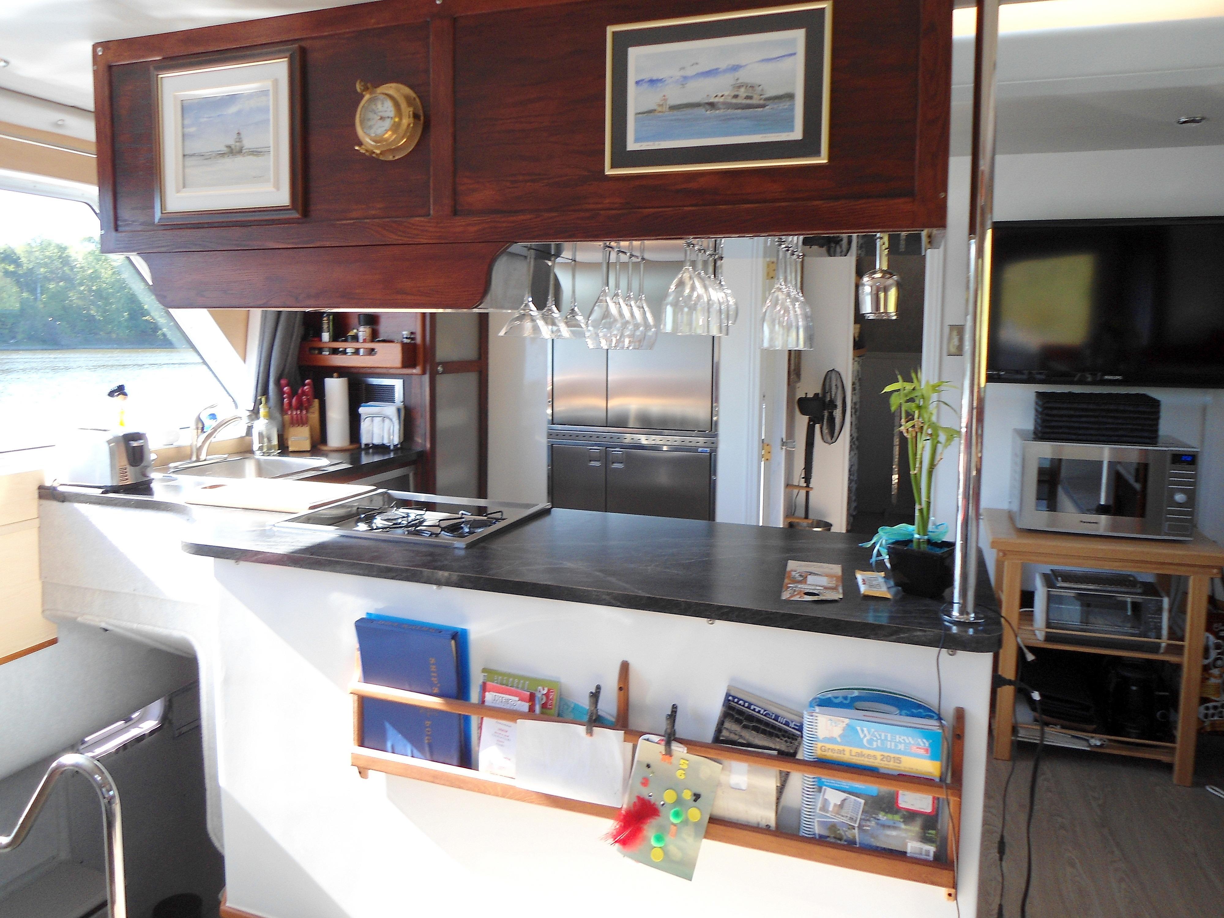 Flybridge Power Catamaran Spacious Galley