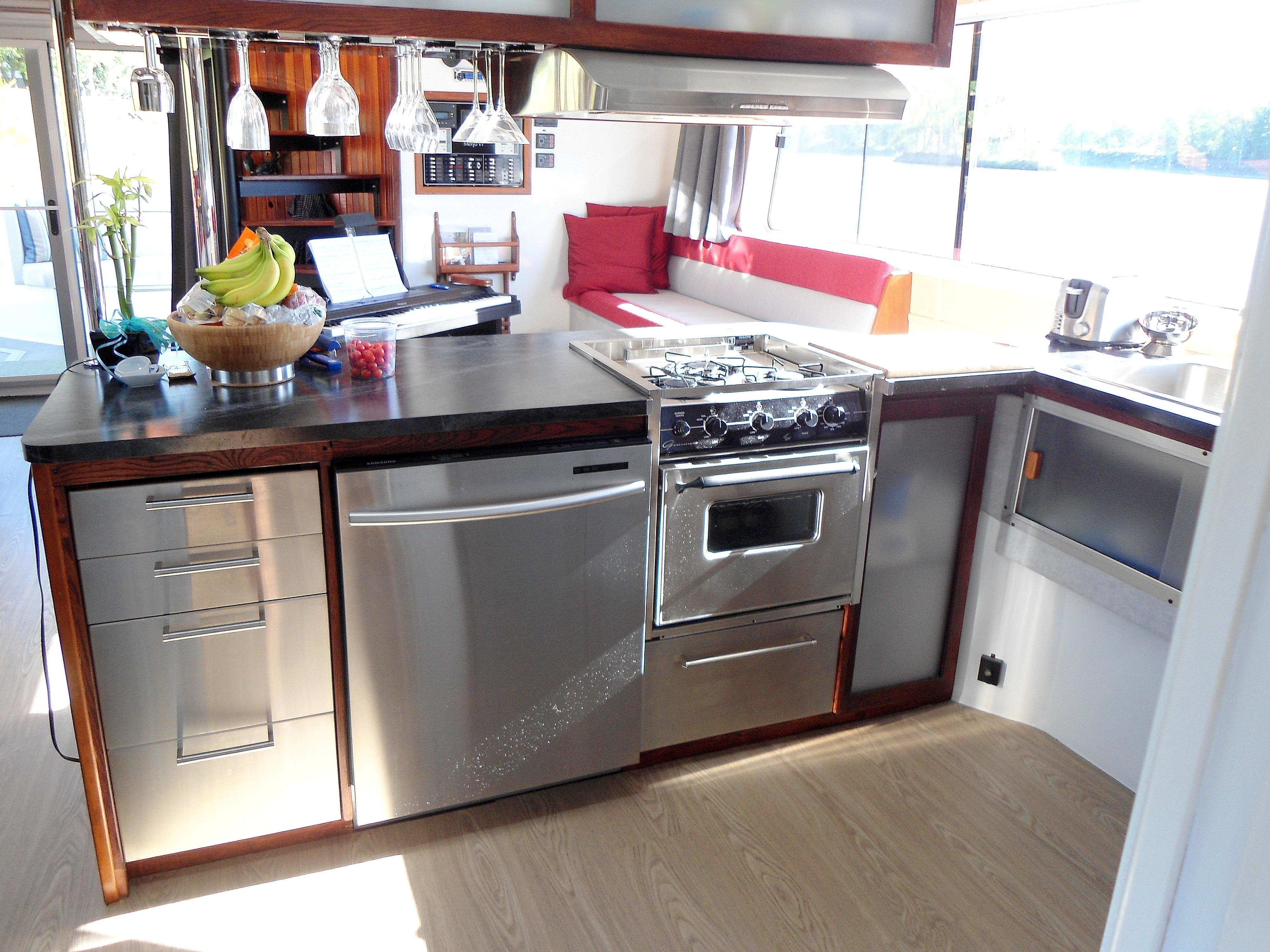 Flybridge Power Catamaran Galley w/Stainless Appliances