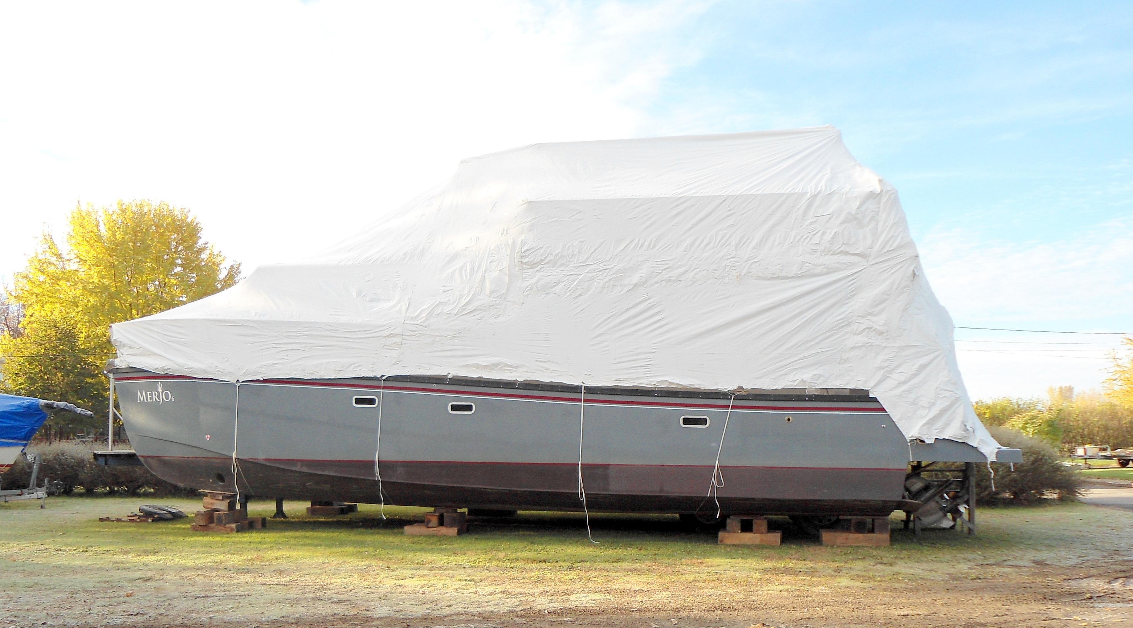 Flybridge Power Catamaran Winter Storage