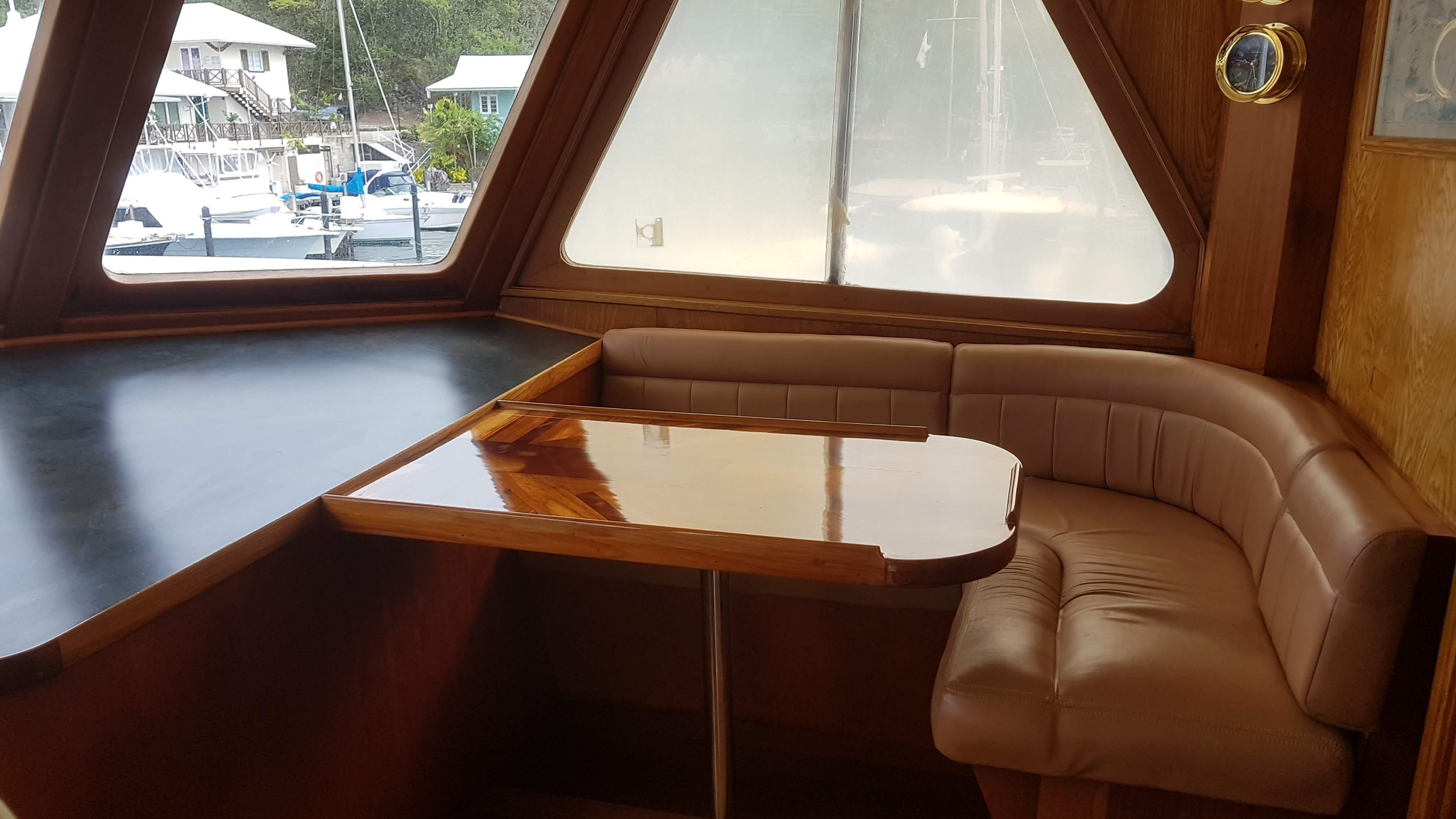 Table and seating on bridge