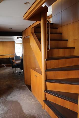 Stairwell to upper and lower decks