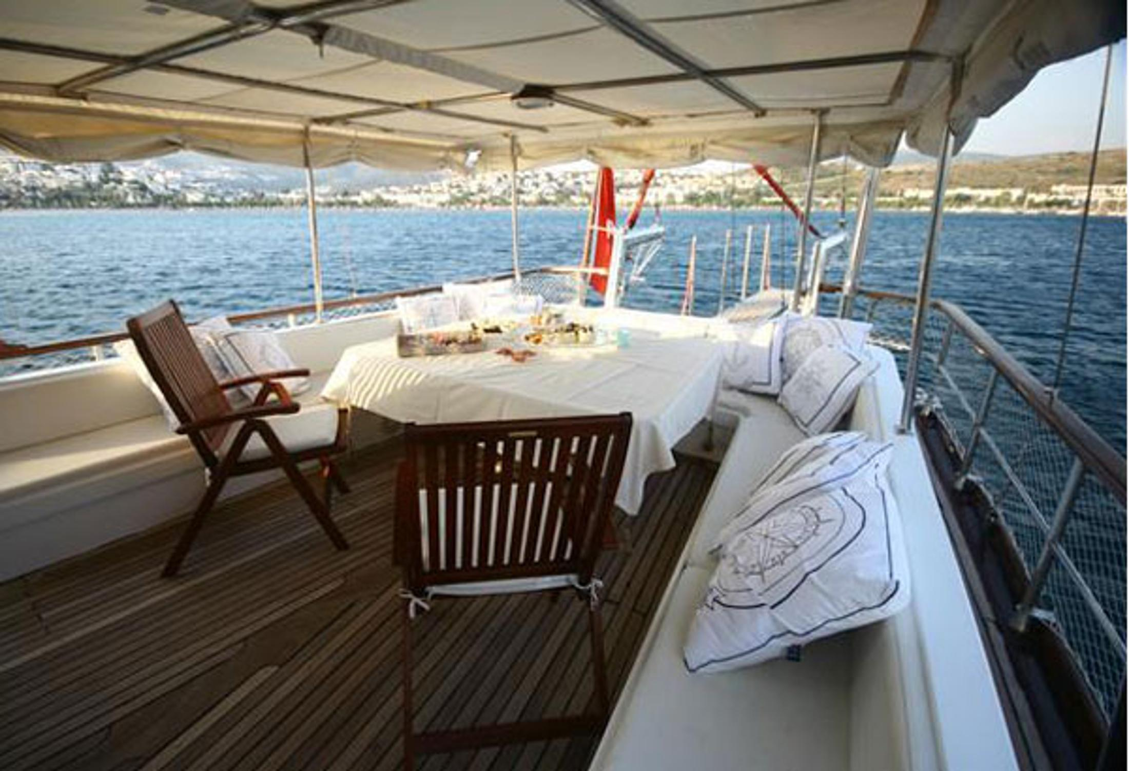 Aft Deck With New Sunbrella Upholsteries And Fixed Sun Awning