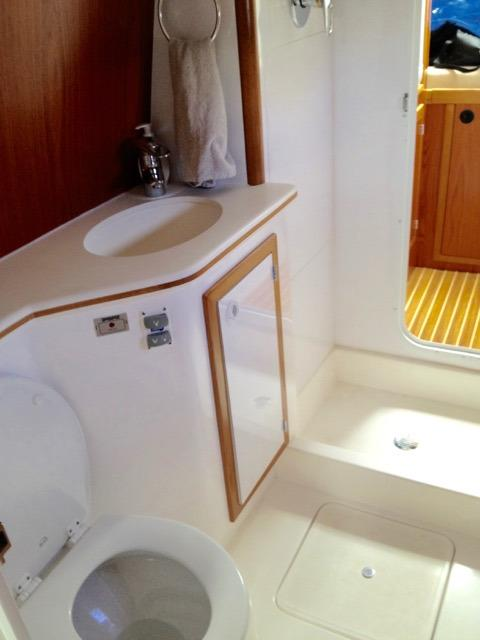 Starboard Hull Guest Head, Vanity and Shower Area