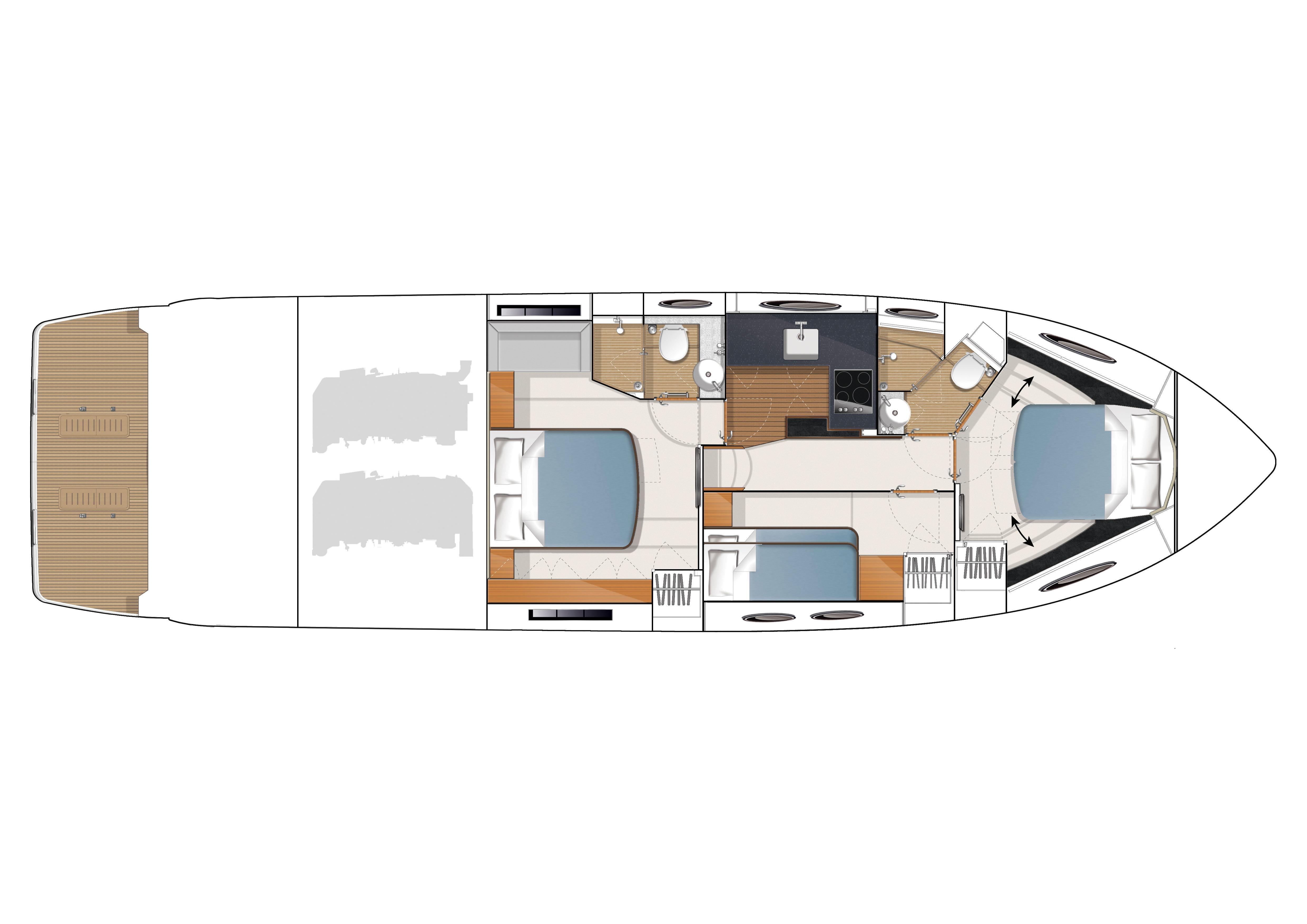 Manufacturer Provided Image: Princess V52 Optional Lower Accommodation Layout
