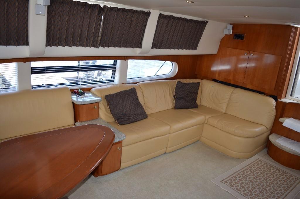 Carver 466 Motor Yacht - Starboard Salon Facing Aft