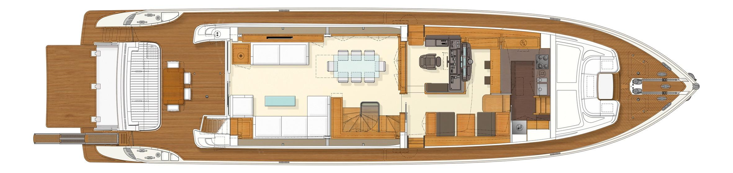 Manufacturer Provided Image: Ferretti 830 Upper Deck Layout Plan