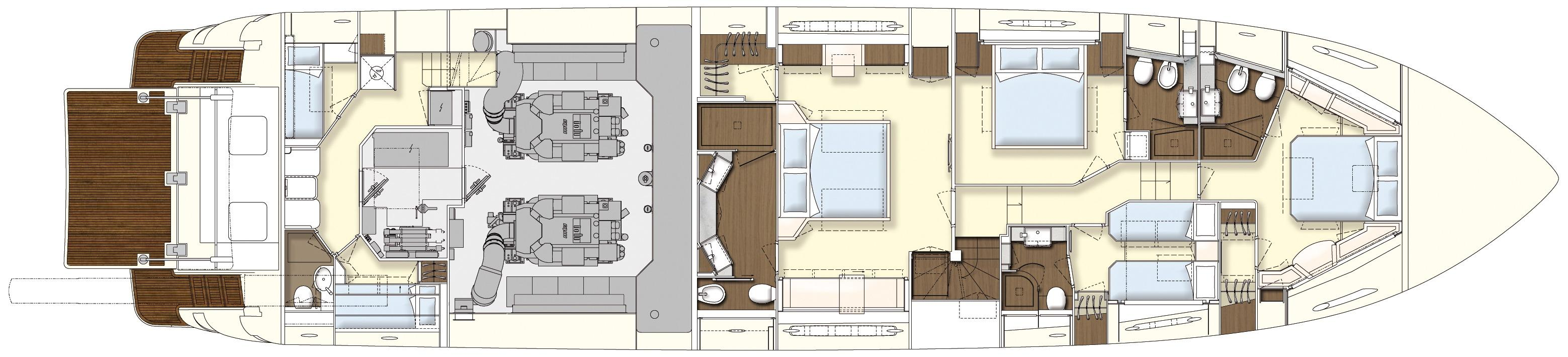 Manufacturer Provided Image: Ferretti 870 Lower Deck Layout Plan