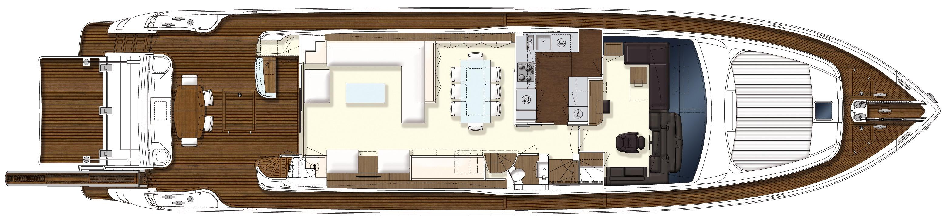 Manufacturer Provided Image: Ferretti 870 Upper Deck Layout Plan