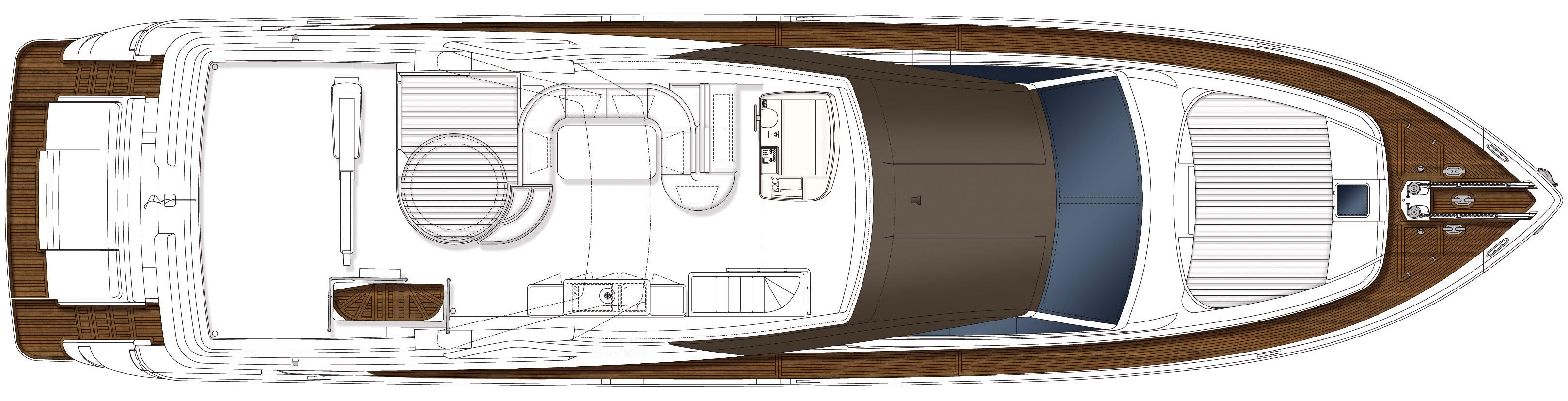 Manufacturer Provided Image: Ferretti 870 Flybridge Layout Plan