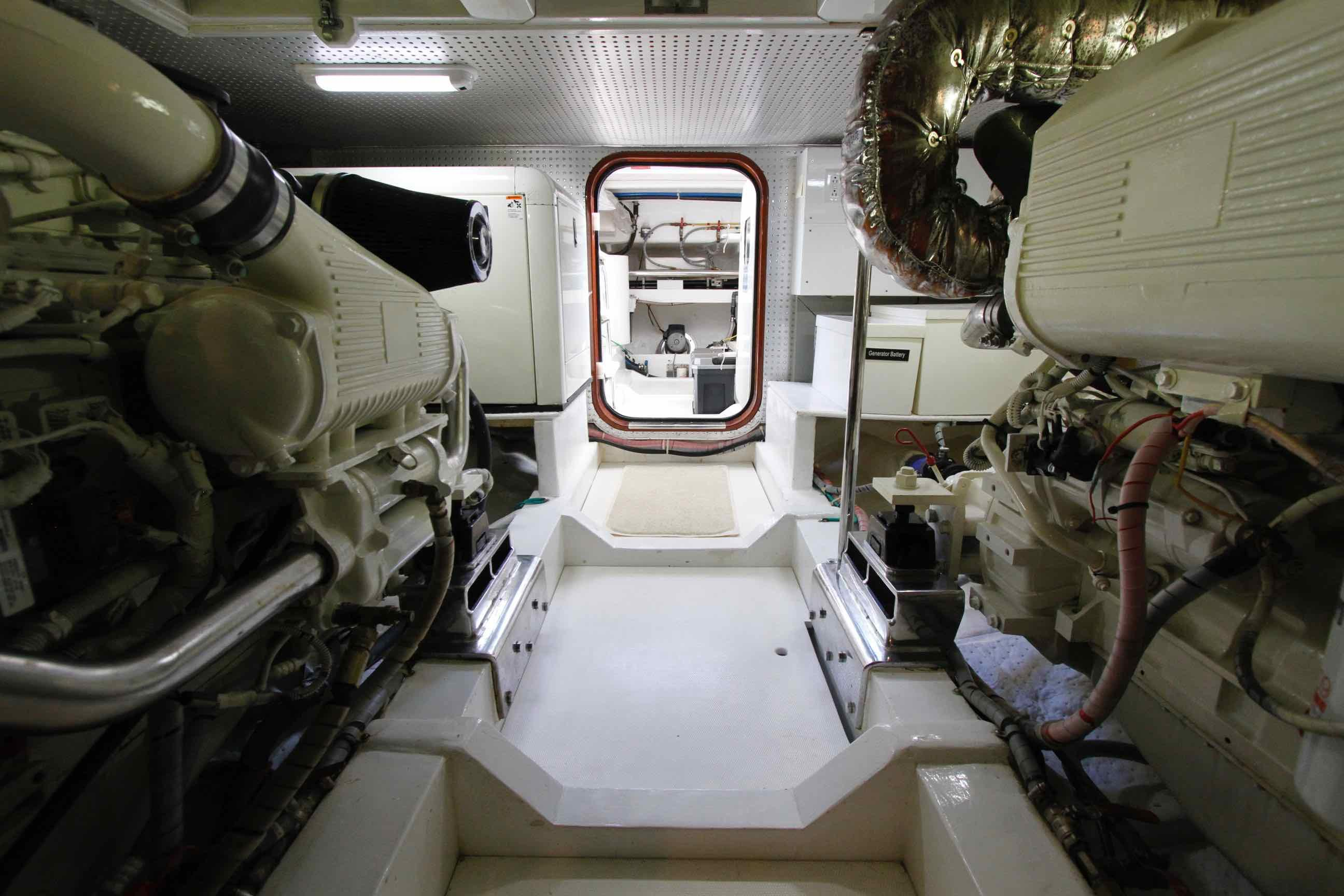 Hampton 558 Pilothouse Engine Room looking Aft