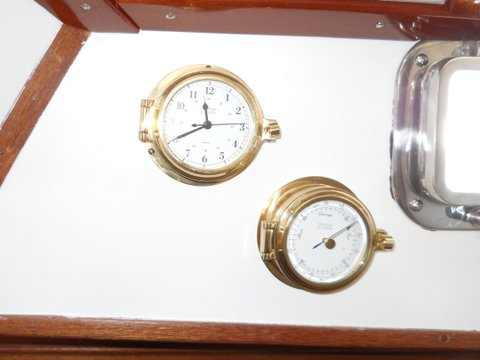 Salon brass clock and barometer