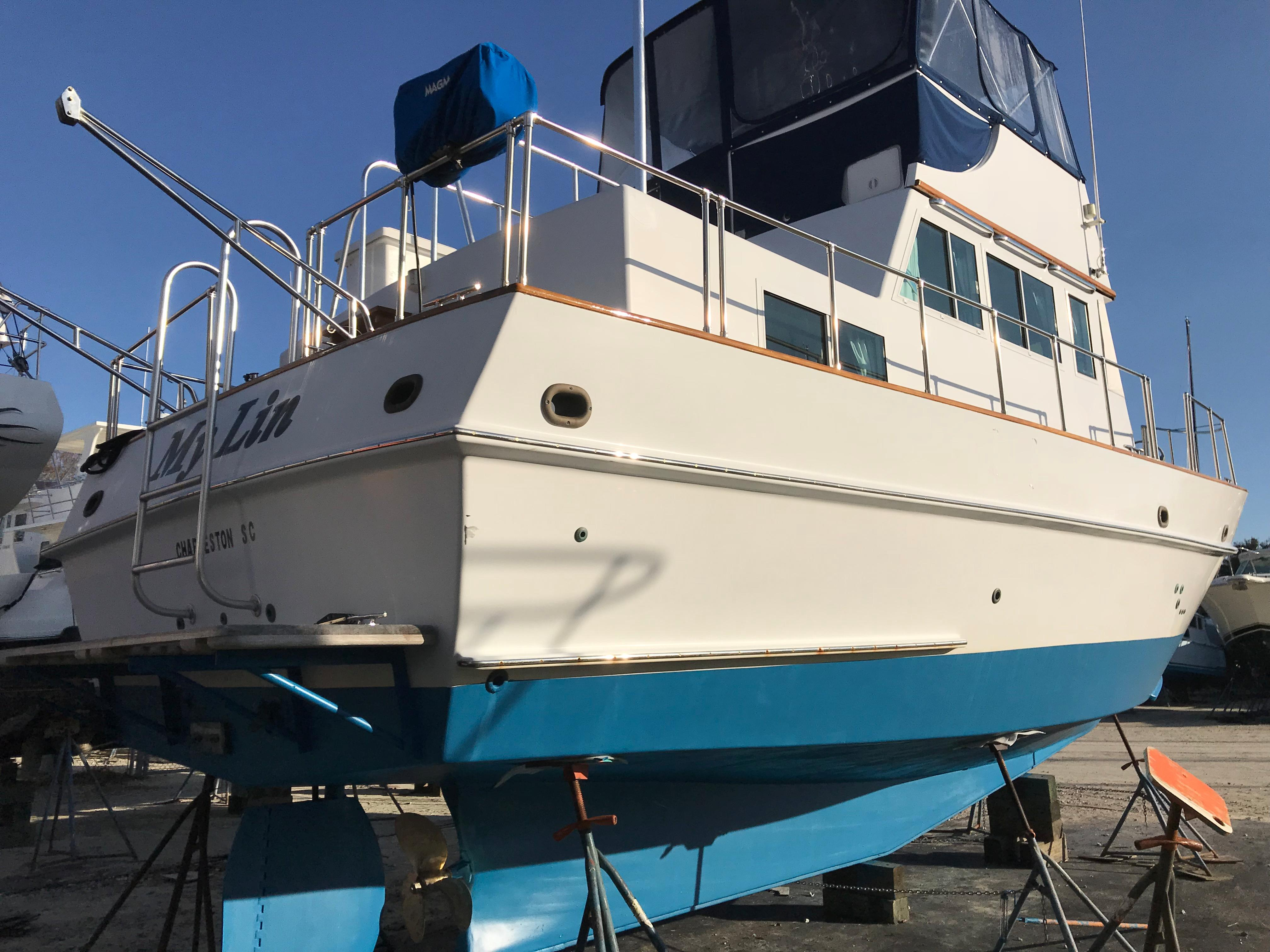 Custom 36 Yukon Trawler - Aft Shot on the hard